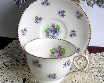 Royal Stafford by Thomas Poole SWEET VIOLETS Gold Drop Edge Bone China Tea Cup and Saucer - ca 1960