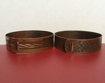 Set Of 2 Vintage Etched Copper Bangle Cuff Bracelets - Scrolled - Swirled Pattern - Latch Closure - Bracelet For Small Wrists