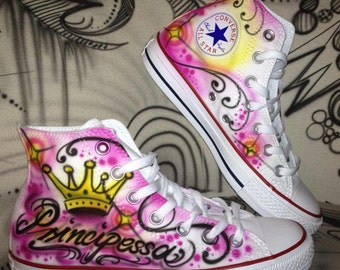 Customized airbrush converse allstar Chuck j.t. princess girly style