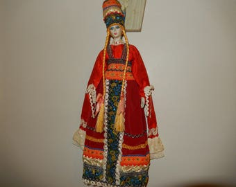 """Russian Cloth and Porcelain Doll - 14"""" Tall"""