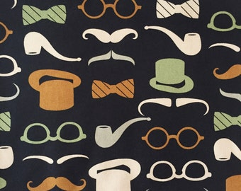 Man Fabric, Pipe Fabric, Party Glasses Fabric, Hat Fabric, Mustache Fabric by the Yard, Nordic Mustache, Quilting Fabric 100% Cotton Fabric