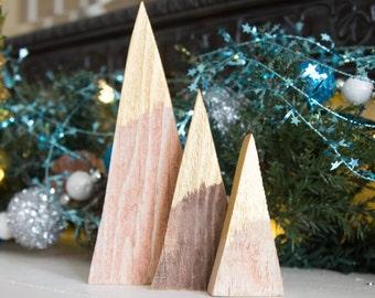 Rustic Wood Mountains Modern Farmhouse Triangle Repurposed Pallet Gold Minimalist Holiday Decor Mantel Christmas Decoration