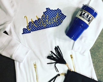 University of Kentucky, state outline, wildcats, polka dot, long sweatshirt white with gold ziippers