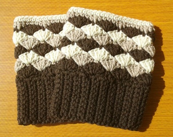 Crochet Boot Cuffs: Brown, Soft Taupe and Heather