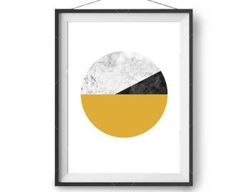 Yellow Mustard Marble Black Art, Textured Printable, Circle Art, Minimal Print, Scandinavian Print, Modern Art, Home Decor, Print Avenue Art
