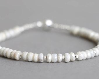 Silverite Bracelet Beaded Bracelet Gemstone Bracelet Stacking Bracelet