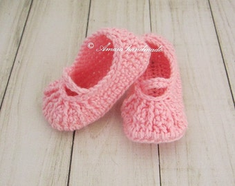 Baby mary jane shoes, Crochet mary janes booties for Newborn to 12 Months, Pink baby booties, Great as an baby girl gift, Very Soft