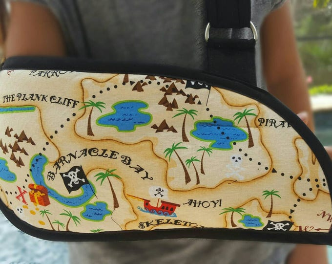 Pirate Ry's Treasure Map Arm Sling - child arm sling - adult arm sling