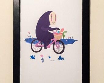 Spirited Away No Face Riding A Bicycle 11x17 Print