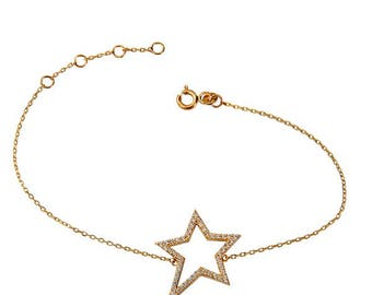 SOLID 14K GOLD Bracelet /w middle asymmetrical star studded zircon -  Rock-Star.