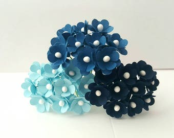 Small blue paper flowers 10mm - 75 flowers
