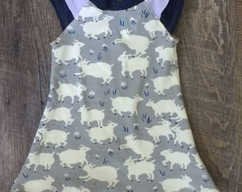 Spring/Summer Organic Lamb Sheep Blue White Flutter Dress 3M 6M 12M 18M 24M 2T 3T 4T 6 8 10 12 -baby girl - shirt shower - Birch