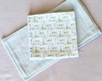 "Green ""I Love Mommy/Daddy"" Burp Cloth, Flannel Burp Cloth, Reusable Burp Cloth, Baby Shower Gift, New Baby Gift"