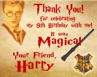 Printable Birthday Thank you cards Notes Harry Potter
