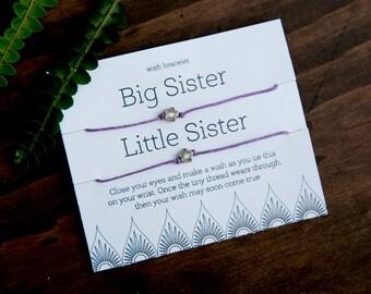 Big Sister Little Sister Wish Bracelet, Friendship Bracelet, set of two bracelets, Make a Wish, Gift for Sister,Girl Present, Birthday Gift