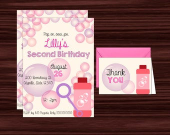 Printable Bubble Birthday Invitations in Pink and Purple - Invitation Template - DIY in Adobe Reader  - Instant Download