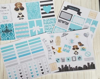 Tiffany Planner stickers.  Tiffany breakfast Planner sticker  kit for ELCP planner