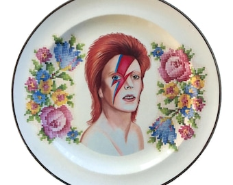 REDUCED - Vintage - Illustrated - David Bowie  - Wall Display - Altered Plate - Saucer - Antique - Upcycled - Art