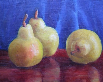 Three Pears, Original Oil Painting, Still Life