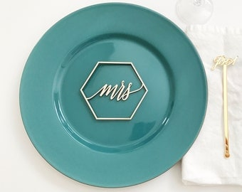 """Mr and Mrs Geometric Signs 4"""" x 3"""" 