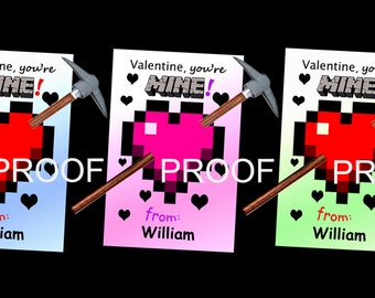 """Minecraft Inspired Valentine Card """"You're MINE"""", Video Game Valentine's Day Card, Valentine with Pencil, Personalized, Printable"""