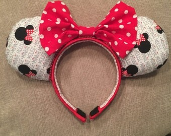Classic minnie ears, classic minnie, mickey ears, minnie ears, baby mickey ears, red polka dots, infant, toddler, child, adult ears