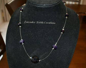 Purple Glass Bead Floating Gem Necklace with Toggle Clasp (20173N)