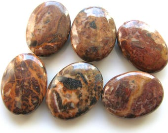 Jasper beads, Conglomerate Jasper, 10 beads, 15x20mm, shades of brown, oval beads, Jewelry supply B-1327