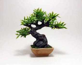 Artificial Bonsai, miniature bonsai, artificial ficus bonsai tree, bonsai, ficus tree