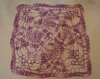 Purple Variegated Square Doily