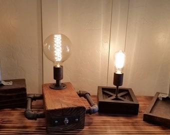 Industrial Pipe & Rustic Beam Table Lamp - Desk Lamp -