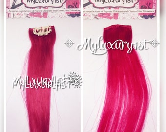 Bright Pink Remy Clipin hair extension Steak 19 inches 1 piece 5 Gram European human hair Clip-in Clip on Extra Piece