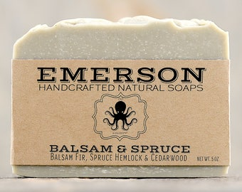Balsam & Spruce Soap with French Green Clay • Vegan Soap, Natural Soap, Palm Free Soap, Avocado Soap