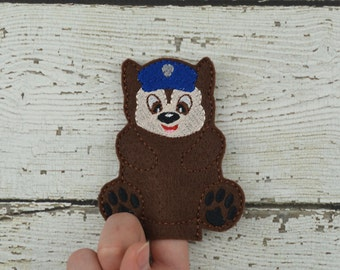 Chase Felt Finger Puppet - Pretend Play - Party Favors - Birthday - Paw Patrol - Travel Toy - Quiet Game - Quiet Play