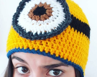 Stuart Minion Hat, Despicable Me Minion Hat, Handmade Crochet To Order, Crochet Minion Beanie, Knit Toddler Minion, Baby Shower Unique Gifts