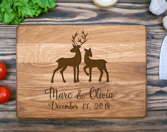 Cutting Board, Custom Cutting Board, Chopping Board, Wedding Gift, Personalized, Wood Cutting Board, Anniversary Gift, Deer Cutting Board