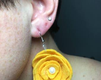 Dangle Felt Flower Earrings - Mustard Yellow
