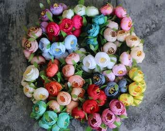 Bunch of 6 - Corsages & Boutineers Wired Flower Bridal Bouquet Camellia Flowers Buds For Centerpiece,Wedding,Anniversary Flowers