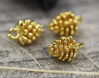 10PCS-Copper Pinecone Charms Gold Silver Pinecone Charm Pine Cone Charm 3D Pinecone Bracelet Earring Necklace Charm Pendant Craft Supplies