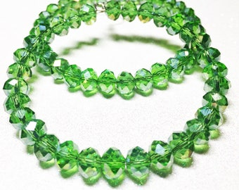 Large Hoop Earrings - Green Faceted Glass Beads - Free Shipping within the U.S.