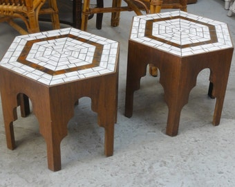 Pair of Mid Century Moroccan Side Tables Palm Beach Regency