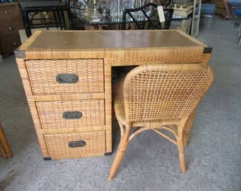 Island Style Rattan Wrapped Desk & Chair Palm Beach Regency