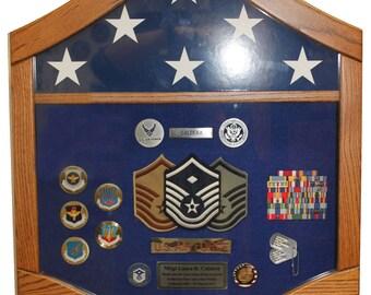 Air Force Master Sergeant (E7) Shadow Box - 5x8 flag area