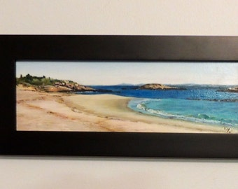 "Waterford Beach, Waterford, CT Original Acrylic and Oil Plein Air Painting Framed Connecticut Shoreline 4""x12"" seascape, beach, art, coastal"