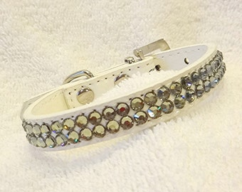 Rhinestones Dog Collar, Swarovski Sage Bling Collar, White Pet Collar, X-Small Sparkling Dog Jewelry