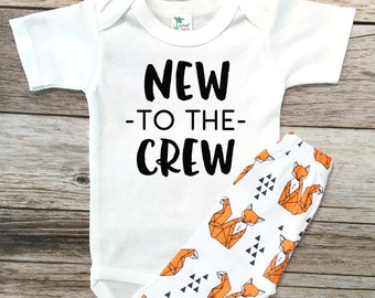 Baby Boy Clothes NEW to the CREW new baby gift, Going Home Outfit, Baby Boy Hospital Outfit, baby boy shower gift, Baby boy gift, Baby boy