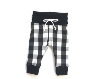 Plaid Baby Leggings, Newborn Leggings, buffalo plaid, white, black, drawstring, soft, christmas, pajamas, lounge, baby leggings, toddler