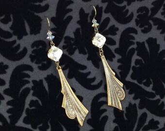 Art Deco Dangle Earrings with Vintage Rhinestones