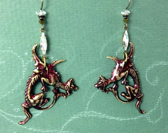 Red Dragon Earrings with Swarovski Rhinestones