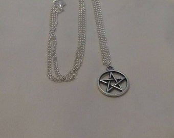 Star Silver Plated Necklace, Pretty Costume Jewellery, Stars And Moon Accessories,Fashion Pendants, Pentacles Necklace, Pentagon Charm